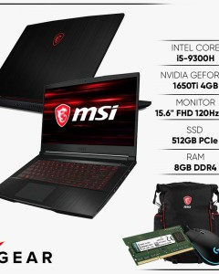 "LAPTOP GAMING MSI GF63 THIN 9SCSR 076VN GEFORCE GTX1650TI 4GB INTEL CORE I5 9300H 8GB 512GB 15.6"" IPS 120HZ BACKLIGHT KEYBOARD WIN 10"